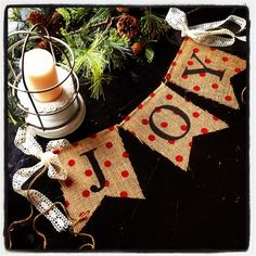 JOY Holiday Burlap Banner with cream lace ribbon by alhinspired Christmas Bunting, Christmas Love, Rustic Christmas, Winter Christmas, All Things Christmas, Christmas Decorations, Christmas Ideas, Holiday Banner, Holiday Decorating