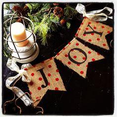 JOY Holiday Burlap Banner with cream lace ribbon. $10.00, via Etsy.