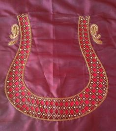 B Saree Blouse Neck Designs, Simple Blouse Designs, Blouse Patterns, Sewing Patterns, Cut Work Blouse, Mirror Work Blouse, Kurtha Designs, Cutwork Saree, Hand Work Design