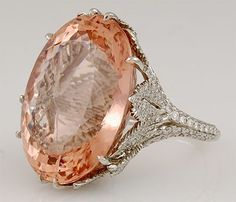 peach - Platinum Morganite and Diamond Ring - Yafa Jewelry Bling Jewelry, Gemstone Jewelry, Jewelry Box, Jewelry Rings, Vintage Jewelry, Jewelry Accessories, Jewelry Design, Jewlery, High Jewelry