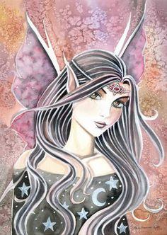 Fairy Art: a touch of garnet by Artist Molly Harrison - Fantasy Paintings, Fantasy Art, Witch Art, Artist Portfolio, Fairy Art, Illustrations, Faeries, Garnet, Fairy Tales