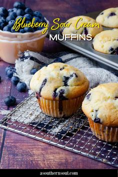 This easy, baked from-scratch recipe makes the BEST Blueberry Sour Cream Muffins that have a pop of fresh lemon flavor. Soft tender muffins loaded with juicy blueberries topped with a sweet lemony glaze are everyone's favorite homemade treat! Savory Snacks, Easy Snacks, Yummy Snacks, Quick Easy Meals, Fun Baking Recipes, Great Recipes, Snack Recipes, Easy Recipes, Sour Cream Muffins