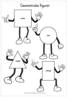 "Geometriska figurer - 8 figurer med tillhörande ""ansikten"" Swedish Language, Free Teaching Resources, Special Education, Preschool, Place Card Holders, Teacher, Pdf, Words, Tips"