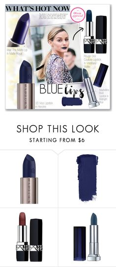 """""""Tricky Trend: Blue Lipstick"""" by carlottabruni ❤ liked on Polyvore featuring beauty, Urban Decay, Christian Dior, Maybelline, TrickyTrend, PFW, Beauty, OliviaPalermo and bluelipstick"""