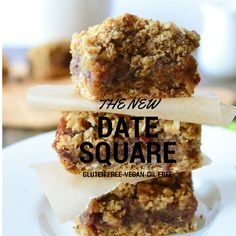 Vegan Gluten Free Date Squares #vegandessert #veganglutenfreedesserts #glutenfreevegancookies