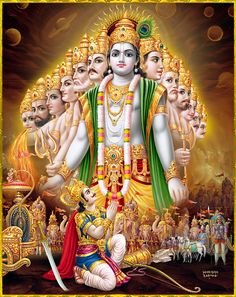 """krishnaart: ☀ SHRI ARJUNA ॐ ☀Artist: Yogendra RastogiArjuna said: """"O Lord of the universe, O universal form, I see in Your body many, many arms, bellies, mouths and eyes, expanded everywhere, without limit. I see in You no end, no middle and no beginning.""""~Bhagavad Gita 11.16"""