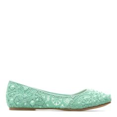 This pastel, crochet-knit ballet flat is sure to put a spring in your step. Crisp white skirts and printed blouses are adorable with Adah.