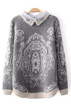Gray Lace Decorated Sweater//