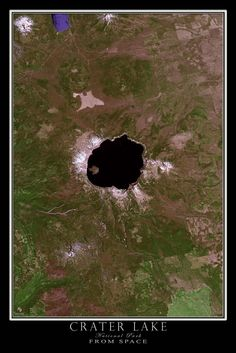 Crater Lake National Park Oregon Satellite Poster Map