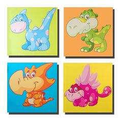 Canvas Wall Art Product   ... Canvas Wall Art Or Picture - 4 Kids Dinosaur Canvas Panels   eBay