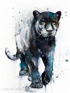 Red panda watercolor painting print by Slaveika Aladjova