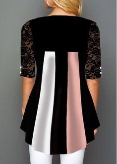 Lace Patchwork Half Sleeve Button Detail T Shirt 60 Fashion, Trendy Fashion, Fashion Dresses, Trendy Tops For Women, Blouses For Women, Kurta Designs, Blouse Designs, Stylish Dress Designs, Embroidery Fashion