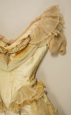 1887. Ball gown House of Worth Designer:Charles Frederick Worth (French (born England),  silk, glass, metallic thread