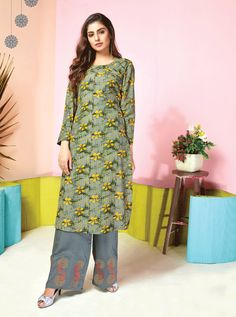 KARMA TUCUTE VOL 11  KARMA TC-11007 TO TC-11014 SERIES  NEW COLLECTION MUSLIN PRINTED TOP WITH EMBROIDED PLAZO Icon Fashion, Karma, Style Icons, Dresses With Sleeves, Printed, Long Sleeve, Collection, Tops, Sleeve Dresses