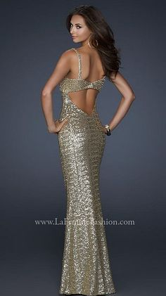 Gold Evening Gowns | Another image of La Femme Gold Sequin Prom Dress with Beautiful Open ...