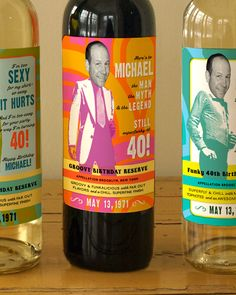 Custom Wine Labels for the Groovy Guys in your by smallcreatures, $37.00