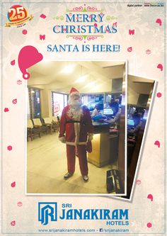 And our SANTA has arrived & ready to surprise with gifts & vouchers! Welcome Christmas at #SrijanakiramHotels. #christmas #santaclaus #recipe