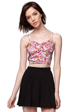 """A PacSun.com Online Exclusive!TheButton Front Bralette by Lush has a cropped cut and cute floral pattern throughout. We love the button up front detail and ruched elastic back. The straps and conveniently adjustable. Wear this with our high waisted bottoms and layer with our cardigans! Lined.9"""" length excluding length of strapsMeasured from a size smallModel is 5'9"""" and wearing a small100% rayonDry clean onlyImported Crop Tee, Pacsun, Looking For Women, Lush, Skater Skirt, High Waisted Skirt, Buttons, Tank Tops, Tees"""