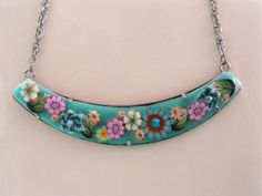 Turquoise, handmade Polymer clay necklace