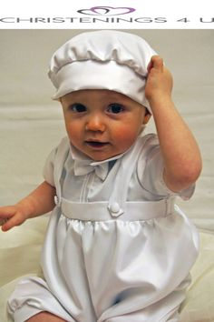 boys dungaree christening outfit with baker hat by christenings4u, £28.99