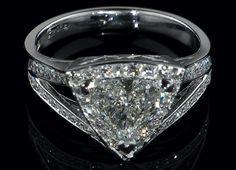 Engagement Ring - Trillion Diamond Halo Engagement Ring  Pave Split Band - ES1125 by Heidi-Vogel