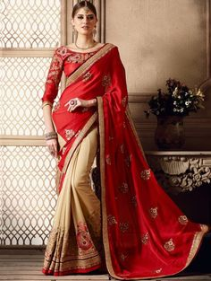 Cream and Red Georgette Saree with Embroidery Work