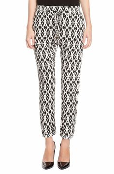Queen Letizia looked relaxed in her Hugo Boss 'Sharony' drawstring pants. These casual pants by BOSS ORANGE feature an allover Aztec-inspired print, elastic drawstring waistband, tapered leg with rolled cuff and two side French pockets. They are made from 100% viscose and originally retailed for US$195 but have now been discounted to US$146.99