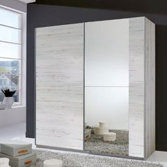 Stripe 2 Door Sliding Wardrobe In White Oak With Mirrored Door Sliding Wardrobe Designs, Wardrobe Design Bedroom, Sliding Wardrobe Doors, Wardrobe Closet, Closet Doors, Closet Mirror, Mirror Bedroom, Dressing Design, White Doors