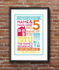 New home print in various sizes *personalised* from my etsy.