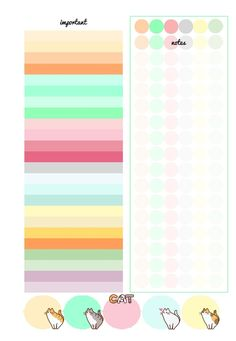 PB and J Studio: Free Printable Inserts PASTEL CATS | A5 | Divider Week on 2 Pages Notes