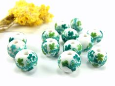 Green Ceramic Beads 12mm Round Handmade Ceramic Floral by Cchange
