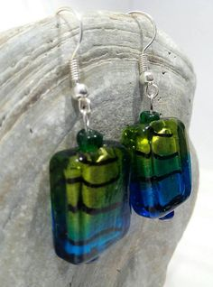 Vibrant Green and Blue Glass Bead Drop Earrings