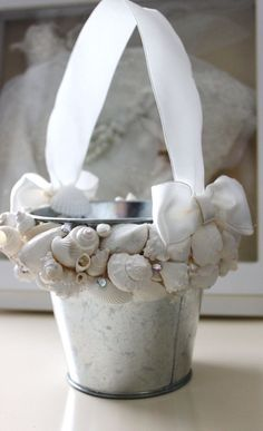 Beach wedding, flower girl pail. Seashell Flower Girl Pail Beach Wedding by NatasDoCeu on Etsy,: