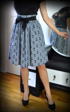 Gypsy Skirt Chambray Anker - Rockabilly Rules - Onlineshop