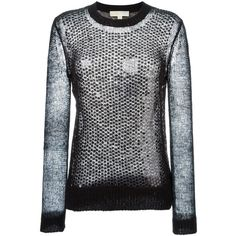 Michael Michael Kors Sequinned Open Knit Sweater ($239) ❤ liked on Polyvore featuring tops, sweaters, black, michael michael kors sweater, open-knit sweaters, sequin top, open-stitch sweater and sequin sweater