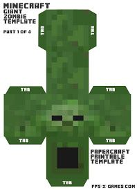 Minecraft papercraft, printable mob cut out character zombie