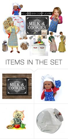 """Milk & cookies please!"" by sheila-ball ❤ liked on Polyvore featuring art and etsyevolution"