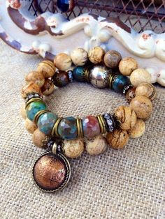 Rustic Fall Jasper Stacking Bracelet Set by CountryChicCharms
