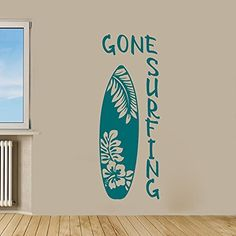 Gone Surfing with Surfboard Vinyl Wall Words Decal Sticker Graphic
