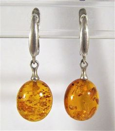 VINTAGE RUSSIAN USSR SIGNED 925 STERLING SILVER AND BALTIC AMBER DROP EARRINGS  | eBay