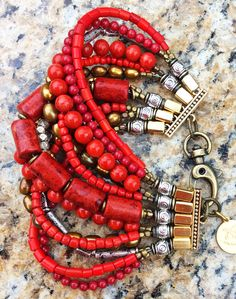 Red Coral, Gold and Silver Multi-Strand Beaded Cuff Bracelet | XO Gallery