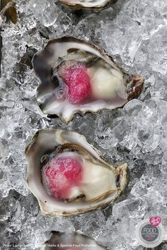 www.oesterkoning.nl Kumamoto Oysters with Pickled Red Onion Ice from Eventide Oyster Co. in Portland, Maine. By Lauren Lear.
