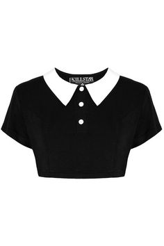Channel your inner Wednesday Addams with the darkly darling Killstar Addams Crop Top, perfect for bringing a touch of Gothic glam to any outfit. Gothic Shirts, Gothic Tops, Black Collared Shirt, Kleidung Design, Jugend Mode Outfits, Mode Kpop, Kawaii Clothes, Hot Clothes, Fashion Clothes