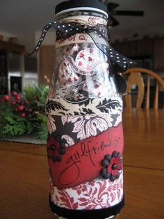 Altered Starbucks Jar - Two Peas in a Bucket Starbucks Glass Bottle Crafts, Starbucks Bottles, Wine Bottle Crafts, Mason Jar Crafts, Mason Jars, Frappuccino Bottles, Starbucks Frappuccino, Creamer Bottles, Bottles And Jars
