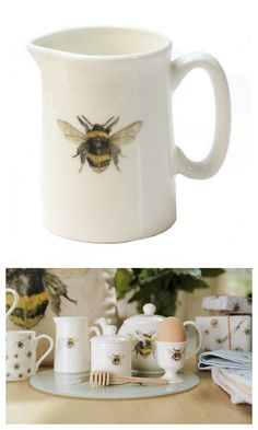 Bee mug & kitchenware. Image from an original watercolour painting.