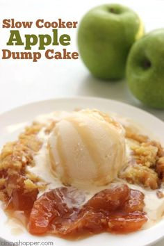 This Slow Cooker Caramel Apple Dump Cake only requires 4 ingredients and is so super easy to make. Just dump your ingredients right in your Crock-Pot and le