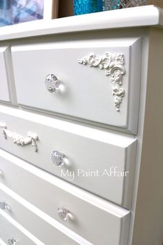 Commissioned set of pine drawers, Whisper White with crystal cut glass knobs and newly applied appliques.. Find more of my work at www.facebook.com/mypaintaffair    (My Paint Affair on Facebook)
