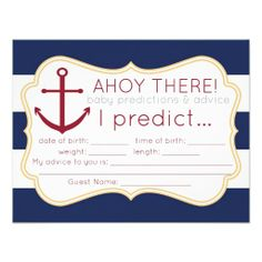Game: Nautical Baby Shower Predictions  Advice Card