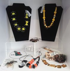 Restocked at The Artisan Store yesterday Feb Jewellery made from a variety of materials: beads, Perspex, Laminex, Formica, watch parts and fibres. Feb 2017, Fiber, Artisan, Jewelry Making, Jewellery, Watch, Beads, Store, Design