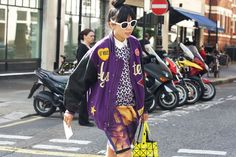 purple bomber and crazy prints.